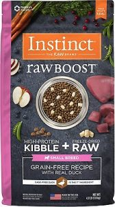 Instinct Raw Boost Small Breed Grain-Free Recipe with Real Duck & Freeze-Dried Raw Pieces Dry Dog Food, 4-lb bag - Overall Best