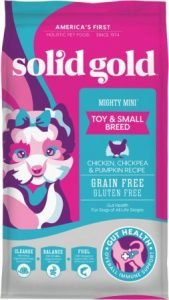 Solid Gold Mighty Mini Toy & Small Breed Gut Health Chicken, Chickpea & Pumpkin Grain-Free Dry Dog Food - Best Dog Food for Gut Health